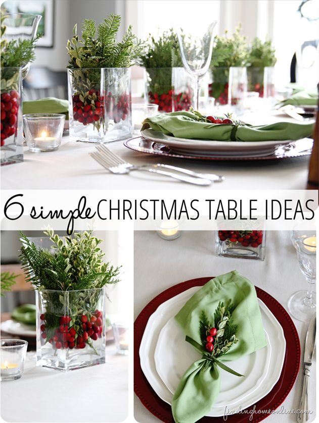 6 Christmas Table Ideas (Perfect for Last Minute!): Christmas Tables, Christmas Table Setting, Holiday Table Setting, Simple Christmas, Christmas Decor, Christmas Table Centerpiece