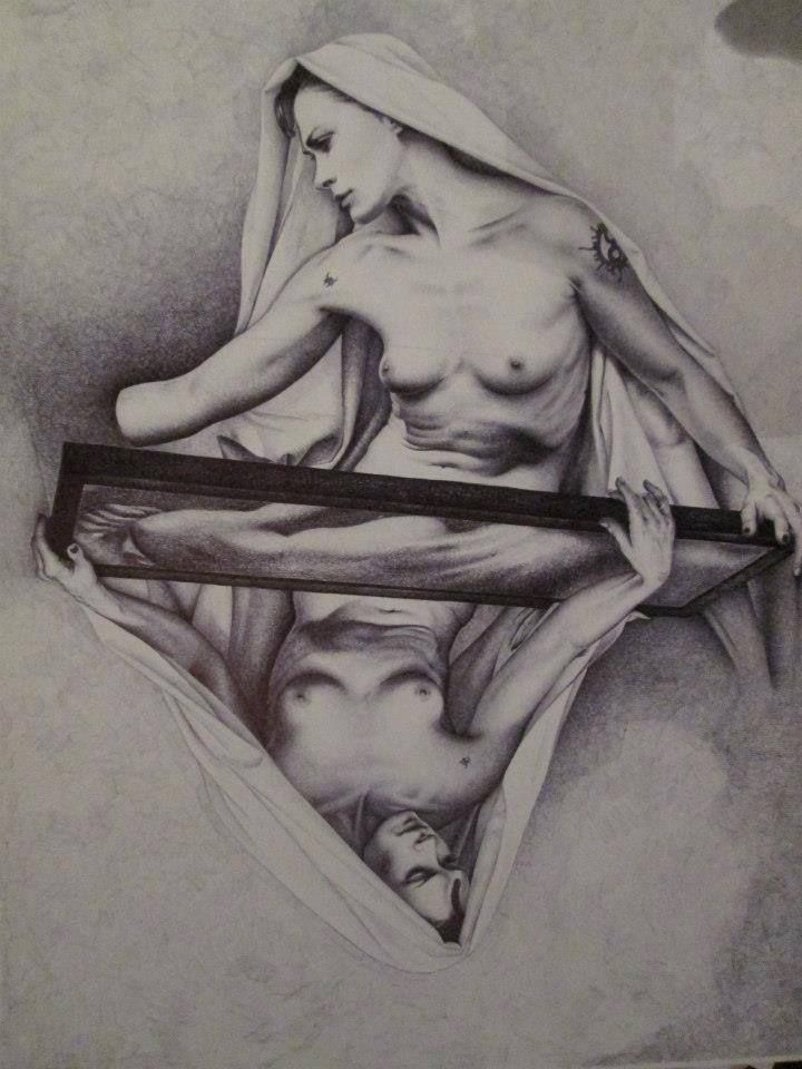 """""""PIETAS"""" disegno a BIC su carta, 33x48cm Roma 2012"""