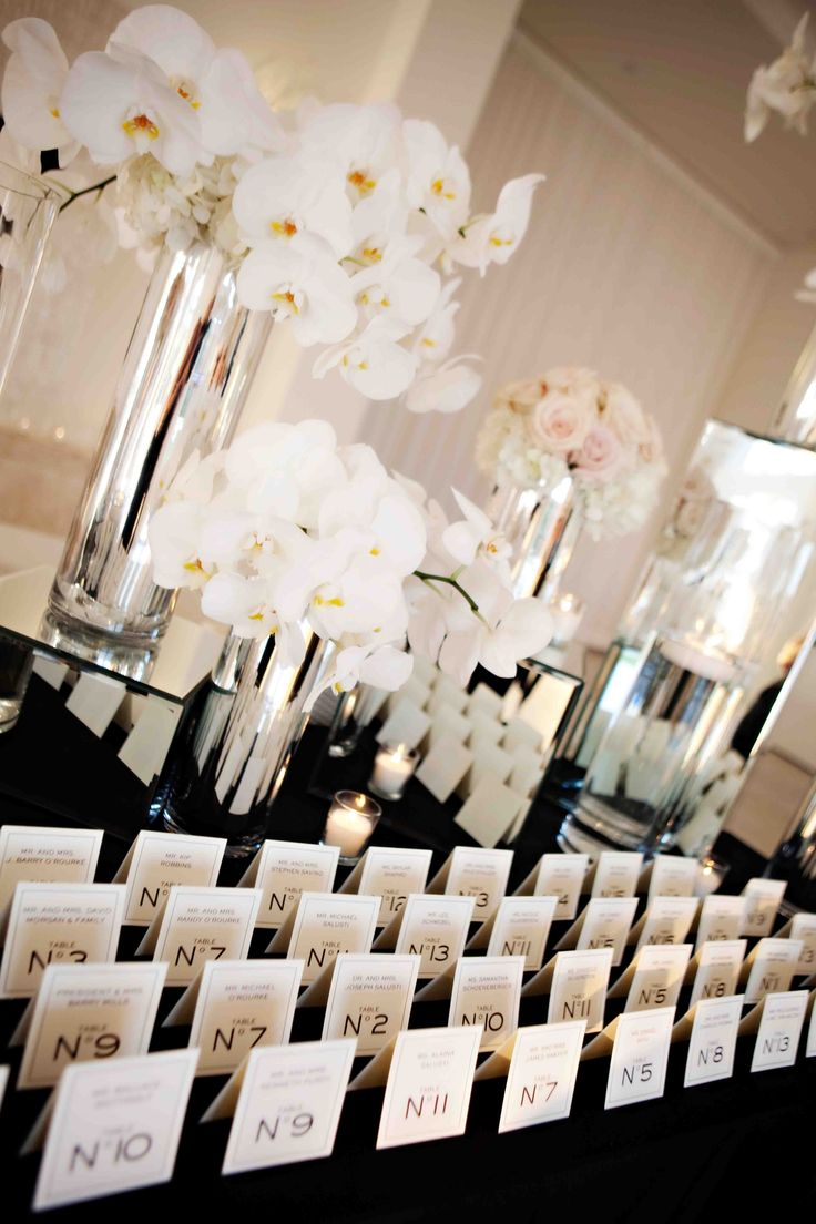 Chanel inspired place cards. Bridal shower decor - lavender, white, silver, and black.