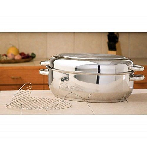 Stainless Steel Construction Roasting Pan with Riveted Handles and Wire Rack Silver * Continue to the product at the image link.