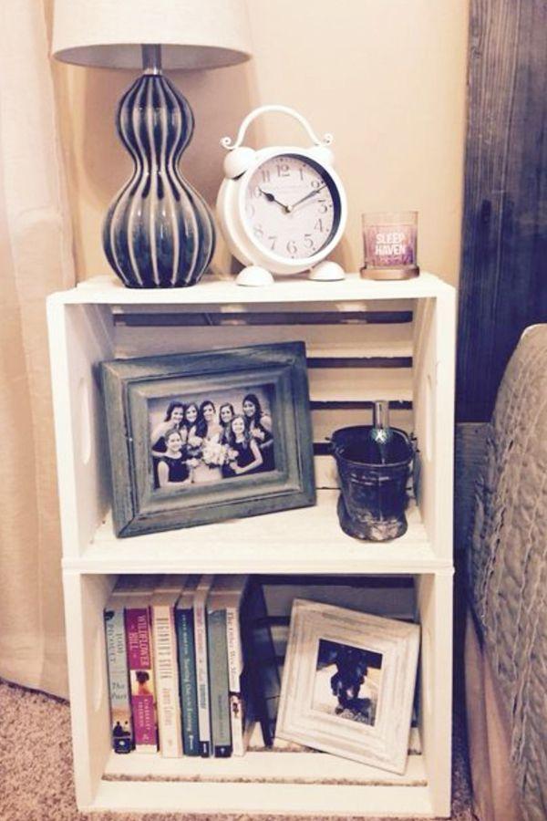 Ideen und Bilder für DIY-Kistenmöbel mit Holzkisten und Milchkisten #farmho …   – bedroom