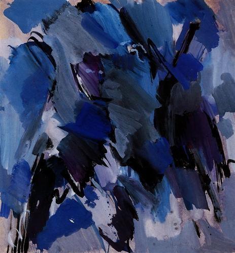 Adnan Çoker, Mavi Kompozisyon 52.00 x 49.00 cm. 1963 Kağıt üzerine guaj İmzalı Mavi Dönem