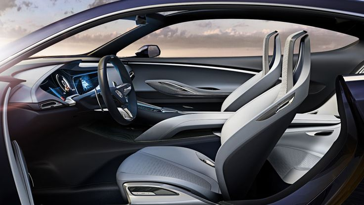 The Buick Avista concept sport coupe's floating center console extends from the driver to the rear seating area.