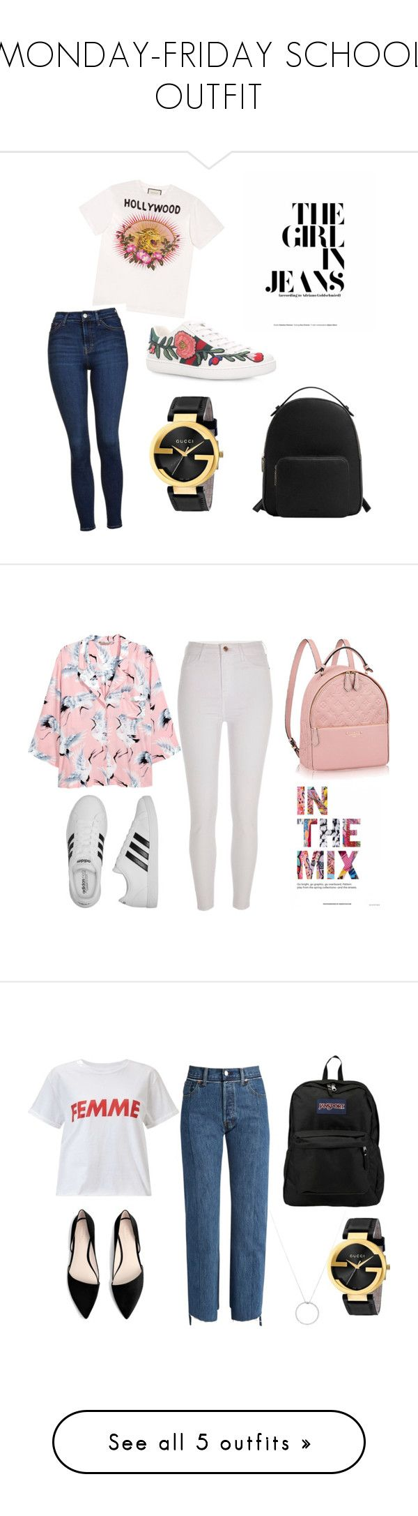 MONDAY-FRIDAY SCHOOL OUTFIT by mariacabrito on Polyvore featuring Gucci, Topshop, MANGO, H&M, River Island, adidas, Miss Selfridge, Vetements, JanSport and Roberto Coin
