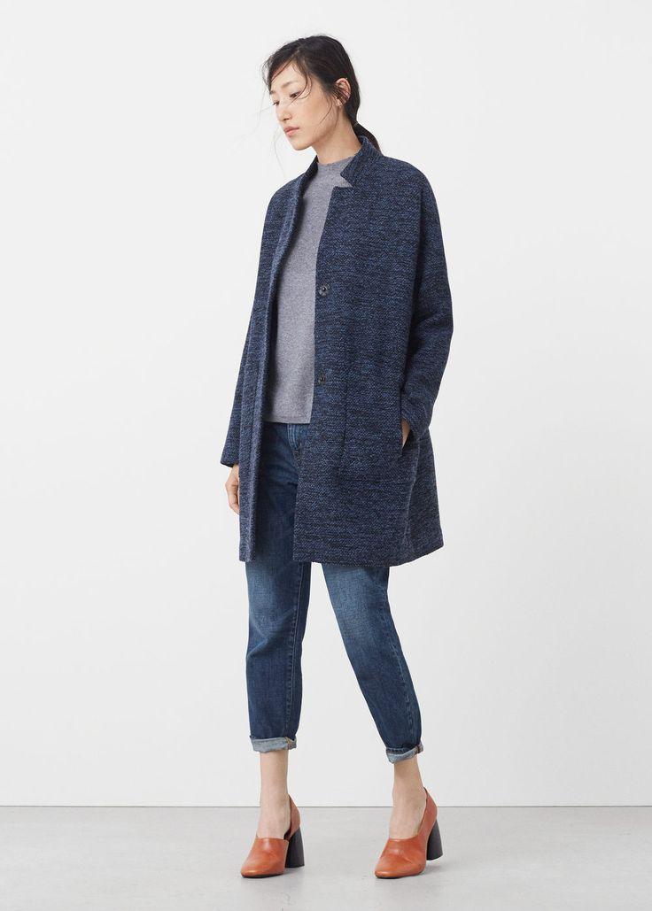 Płaszcz bawełna i wełna   MANGO