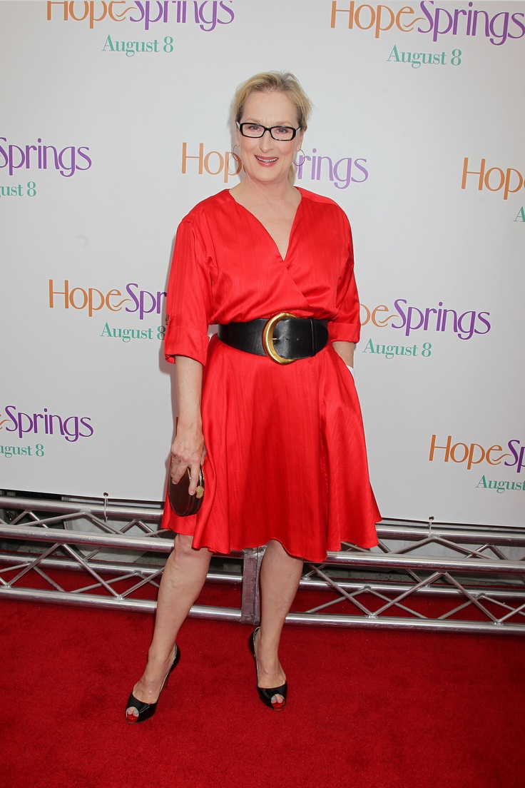 NEW YORK, NY - August 6, 2012: Meryl Streep at the Premiere for Columbia Pictures' HOPE SPRINGS at the School of Visual Arts Theatre. © 2012 Columbia TriStar Marketing Group, Inc. All Rights Reserved.: Columbia Pictures, Outfits, Hope Spring, Movie Concept, Visual Art, People, Meryl Streep, Events Photo, Belts