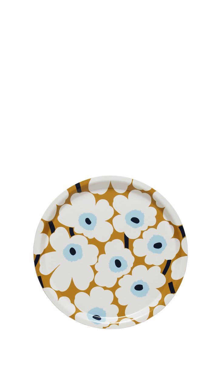 Brett med mønsteret Mini Unikko i laminert plywood av bjørk. Brettet er 31 cm i diameter. Håndvask anbefales.