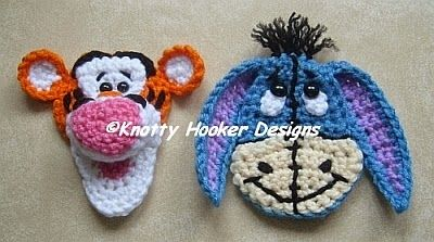 Knotty Hooker Designs: Eeyore & Tigger Inspired Appliques