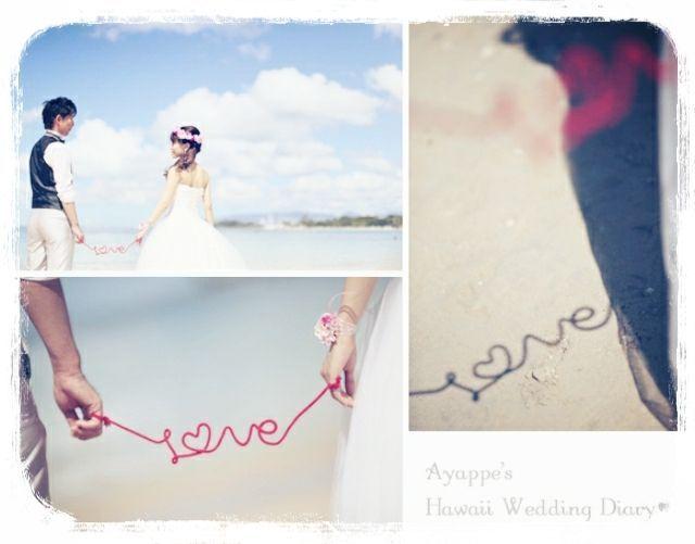 手作りアイテム赤い糸のフォト❤  Ayappe's Hawaii Wedding Diary♥
