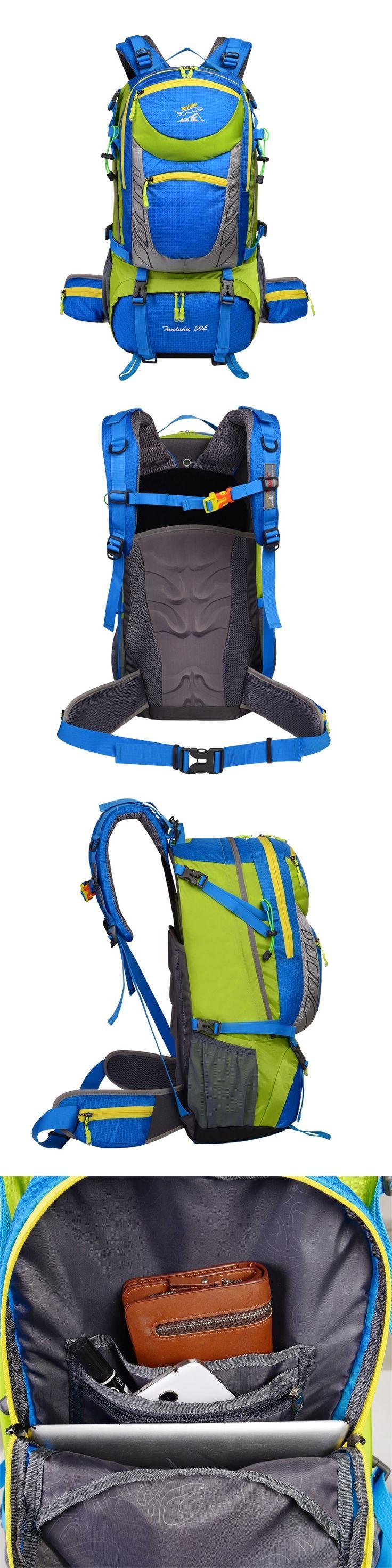 Free Ship 50L Nice Backpacks Waterproof Nylon Travel Mountaineering Bag Zipper Brand Backpack Backpacker