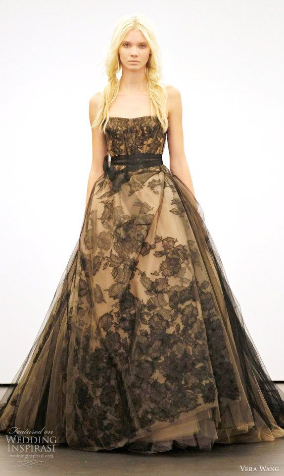 Vera Wang wedding dress black lace over nude.