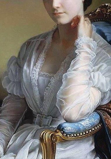 Detalle del Retrato de Madame Léon Riesener. Henri-François Riesener (1767-1828).