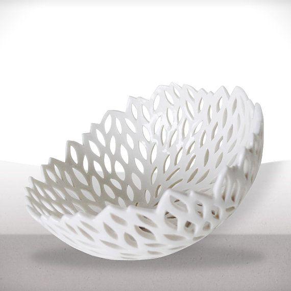White porcelain nest - bowl. by LaPetiteEcharlotte Great for fruits and veggies, rolls at a nice dinner, etc.