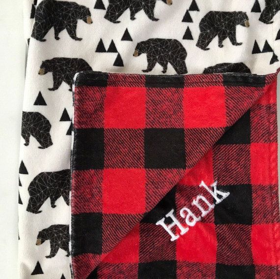 Buffalo Check-Bear-Lumberjack-Red Black Plaid Woodland-Minky Blanket-Outdoor Rustic Cabin- Boy Nursery-Baby Shower Gift-Baby Crib Bedding