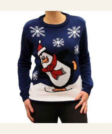 Damski świąteczny sweterek z zabawnym pingwinkiem.