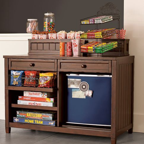 might be good for barbecue station too.    Candy Stand + Snack Storage | PBteen