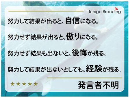 http://ameblo.jp/ichigo-branding1/entry-11464726739.html 努力してやった事に何一つ無駄は無いです。