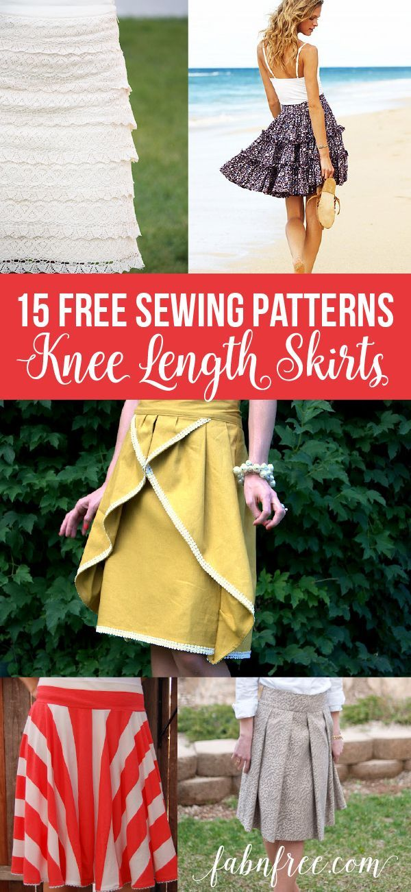 9e890580a 15 FREE knee length skirt patterns, GREAT detailed instructions, many are  very easy to make!! | // Free Printables // | Skirt patterns sewing, ...