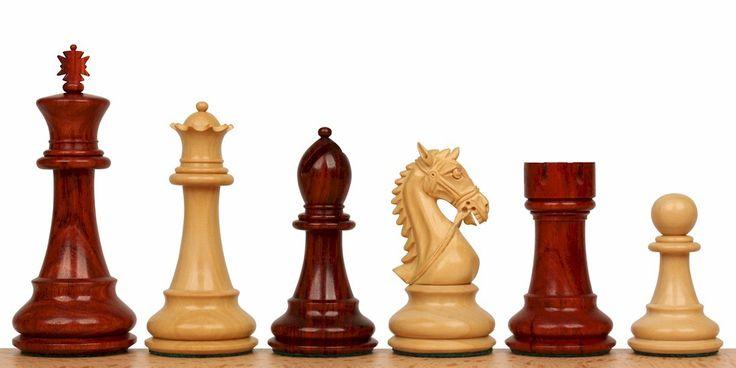 "Bridled Stallion Staunton Chess Set in Red Sandalwood & Boxwood - 4.75"" King - The Chess Store"