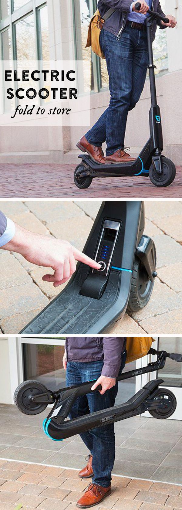 No emissions, no noise, and easy push-pull technology make this scooter a fun way to commute. When you reach your destination, fold it up to store.