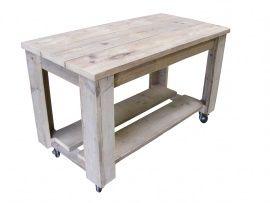 Dick  Deze (side) tafel staat op wielen zodat hij makkelijk te verplaatsen is. Tijdens een tuinfeest of barbecue is hij zo verplaatst. Uiteraard kan hij ook zonder wielen.  lxbxh 120x60x75cm