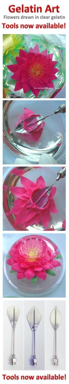 Learn how to make Gelatin Art Flowers - quick and easy. New Cake decorating idea. Tools now available. Gluten free - Fat free, delicious desserts.