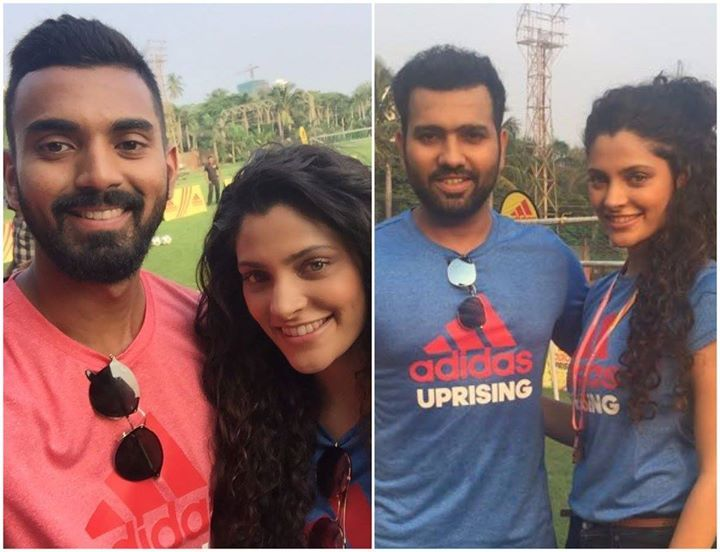 KL Rahul & Rohit Sharma with Bollywood actress Saiyami Kher during an event - http://ift.tt/1ZZ3e4d
