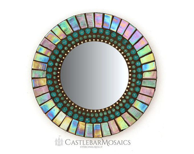Round Teal Mirror, Mosaic Wall Mirror, Small Accent Mirror
