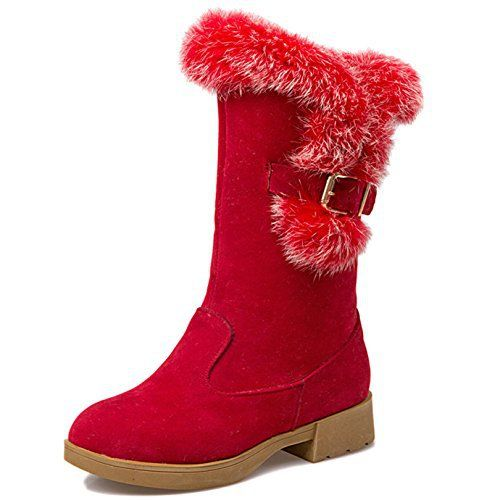 OALEEN Bottes de Neige Fourrure Effet Daim Chaussures Talon Bloc Bottines Chaude Hiver Plateforme Femme: Tweet Oaleen bottes équitation…