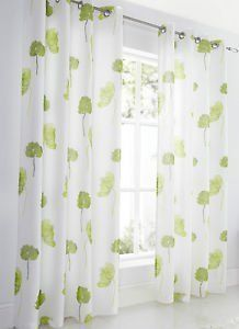 """Lime Green Large Poppy Flower Linen Look Lined Voile Curtain Eyelet Heading 57"""" x 90"""": Amazon.co.uk: Kitchen & Home"""