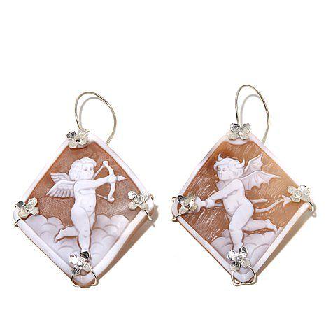 M+M Scognamiglio® 55mm Sardonyx Mixed Cherub Cameo Sterling Silver Earrings at HSN.com