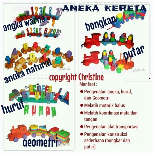 Aneka Kereta #mainanedukasi #mainanpaud #mainanplaygroup #mainantk #mainankayu #mainananak #belajarangka #belajarhuruf #keretaapi #train #koordinasimatadantangan #bongkar #pasang #belajar #belajaranak #alattransportasi #geometri #warna #anak #batita #balita #kadoanak #suveniranak #hadiahanak #educationaltoysforkids #educationaltoysfortoodlers #educationaltoys #woodentoys #kidsactivities #toodlersactivities #toodlers #smartkids WA : +6283863275962 CP : Christine from Indonesia pm for price