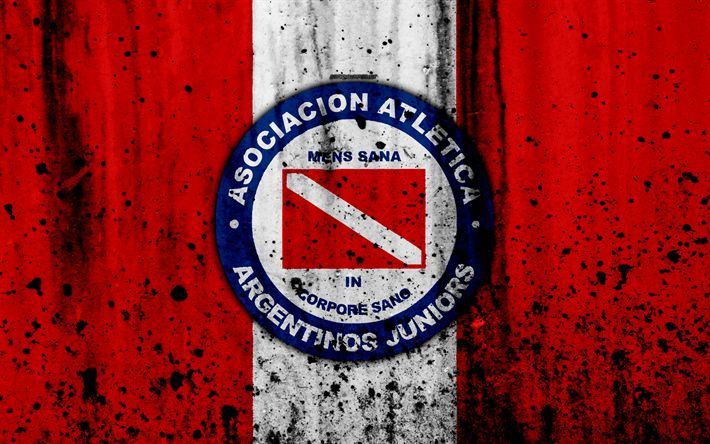 Download wallpapers 4k, FC Argentinos Juniors, grunge, Superliga, soccer, Argentina, logo, Argentinos Juniors, football club, stone texture, Argentinos Juniors FC