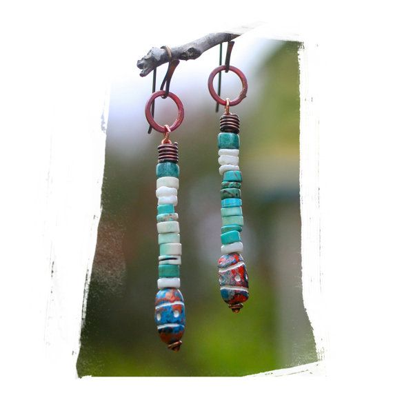 ❥ shades of turquoise and white heishi, multi color tribal pattern clay beads swing from red torched copper rings, earrings are 2 1/2 long, very