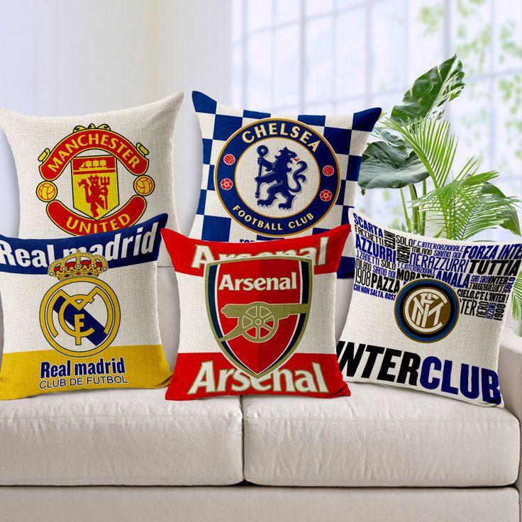 Европейские футбольный клуб Реал Мадрид Барселона Милан льняное белье подушки автомобиля подушки дивана мягкие нагрузки