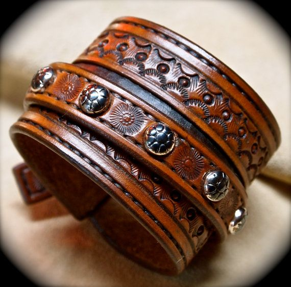 Custom hand tooled leather cuff bracelet made in by mataradesign, $250.00