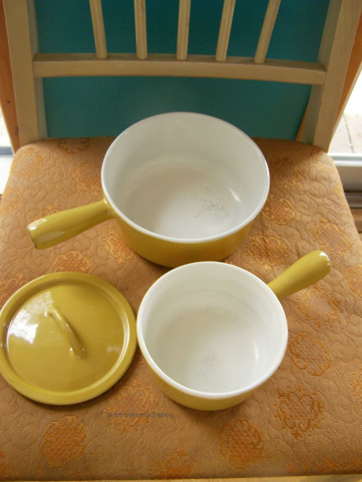 Mid-Century Vintage Descoware yellow Enamelware / enamel over cast iron cookware - Pair of Saucepans and one lid - Made in Belgium by RetrowareExchange on Etsy