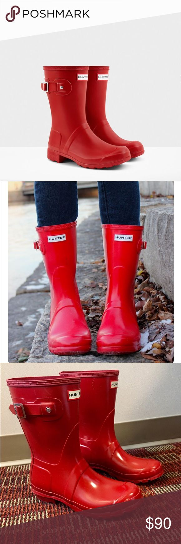 Women's Original Short Hunter Rainboots Size 7 women's Original Tour short Hunter rain boots in red! Perfect condition, barely worn. So cute for fall & winter weather. Hunter Boots Shoes Winter & Rain Boots