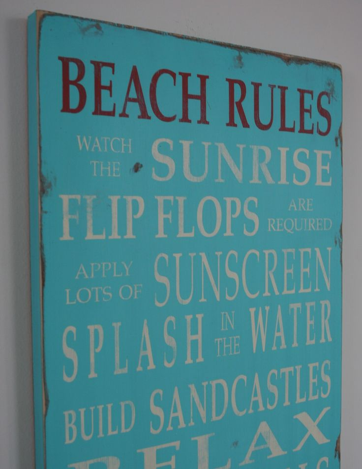 turquoise signs | Beach Rules Vintage Style Typography Word Art by barnowlprimitives