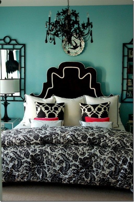 love the chandelier turquoise aqua bedroom interior design decor bedroom design interiors via styleestate - Turquoise Bedroom Designs