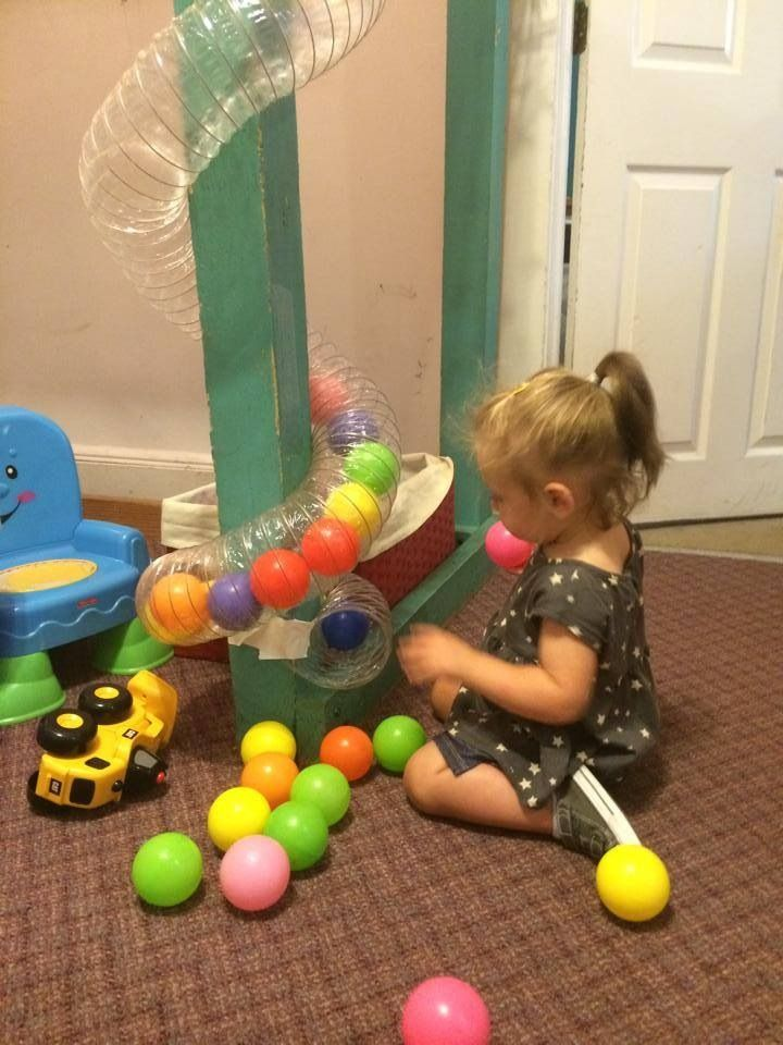 Our new addition is a simple but so much fun ball chute. All you need is a wall or banister, plastic flexible tube, tape and pit balls, tennis or golf, nothing too big. Easy to put together, easy to take down. Hours of fun guaranteed, well maybe 20 minutes. Enjoy! https://www.amazon.com/Builders-Best-100017-CLEAR-DUCT/dp/B000DZFTEO I got the clear tubing from Amazon but you can get it cheaper at Walmart or eBay
