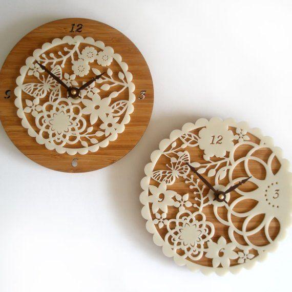 Kirie 02 Bamboo Clock by decoylab on Etsy, $84.00