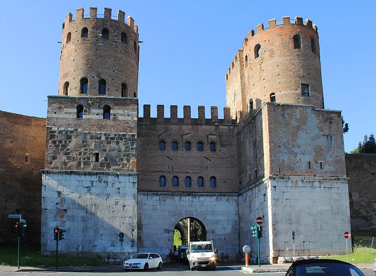 Porta San Sebastiano is the gate of the Appia in the Aurelian Walls. The Appian Way was the first long road built specifically to transport troops outside the smaller region of greater Rome