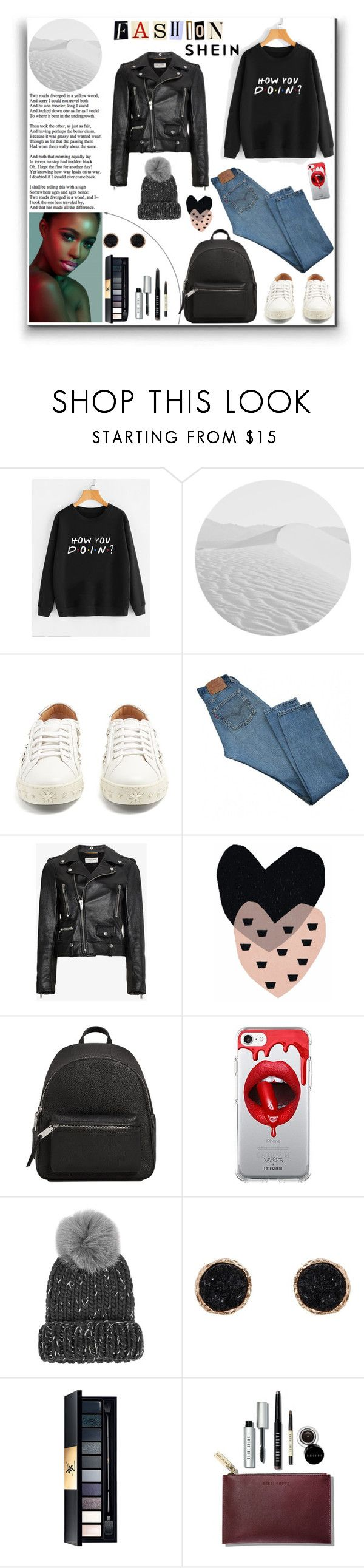"""Felpa Con Stampa Di Slogan"" by manuel-s ❤ liked on Polyvore featuring Aquazzura, Levi's, Yves Saint Laurent, Seventy Tree, MANGO, Fifth & Ninth, Eugenia Kim, Humble Chic and Bobbi Brown Cosmetics"