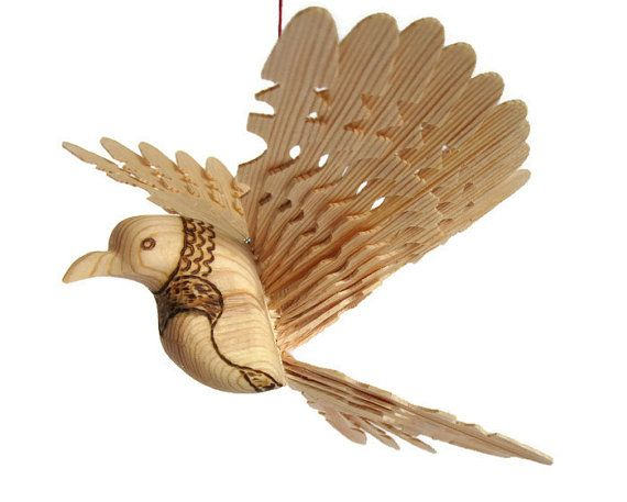 Woodland Baby Mobile Hand Carved Bird From One Piece by MyFanbirds