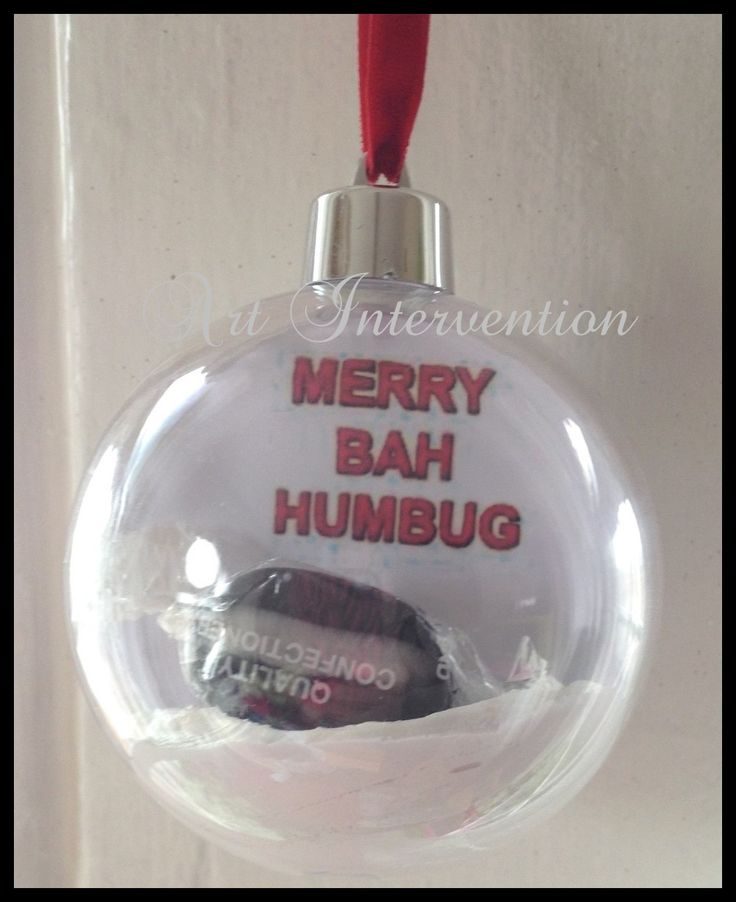 Merry Bah Humbug. Clear plastic Christmas/Xmas tree bauble. Funny, humour. More can be found here: https://www.facebook.com/GeekCreatureCreations