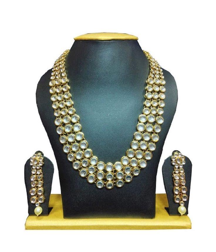 Indian Bollywood Kundan Elegant Look Wedding Wear Women & Girls Necklace Set #natural_gems15 #GoldPlated