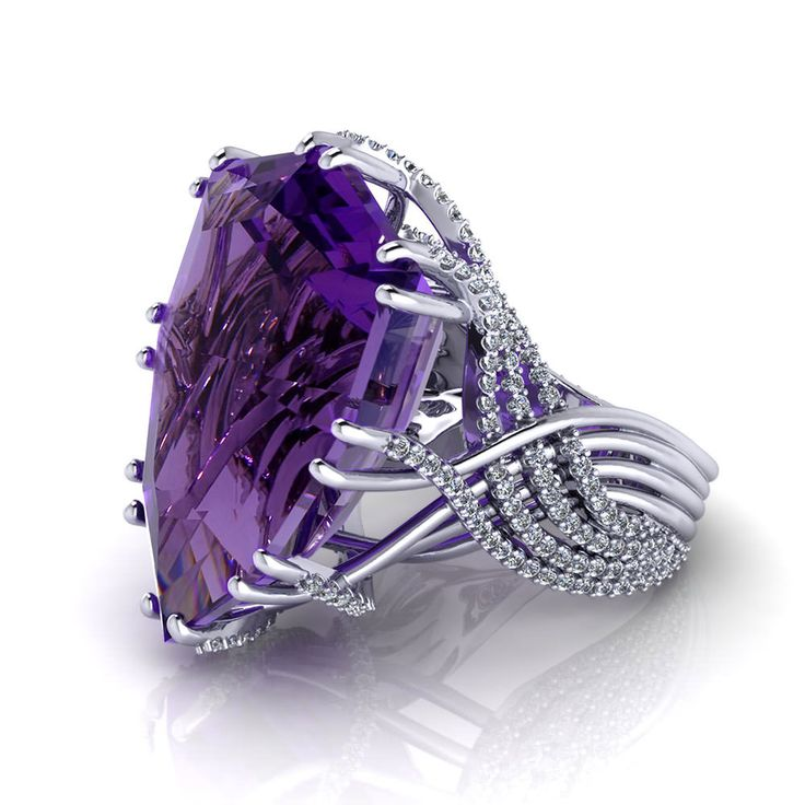 Amethyst Dream Ring in white gold 18k. Beautiful ring vintage design Slvh