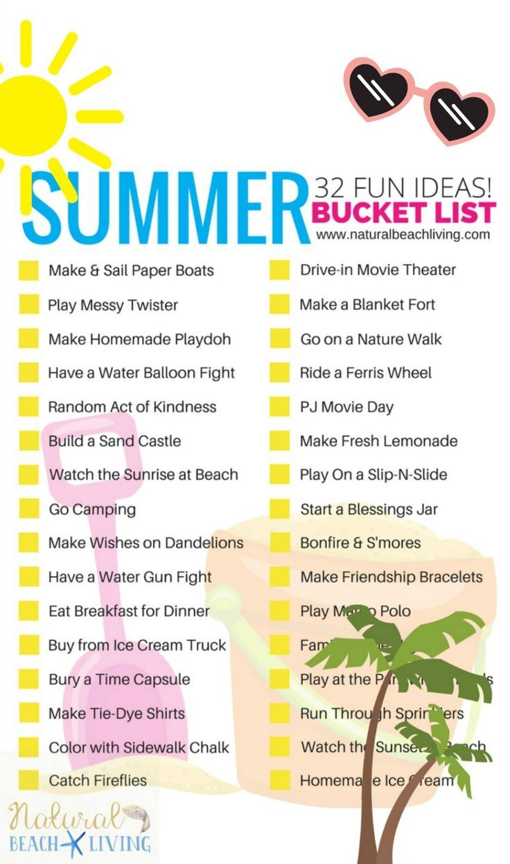 awesome summer bucket list ideas for kids (free printable