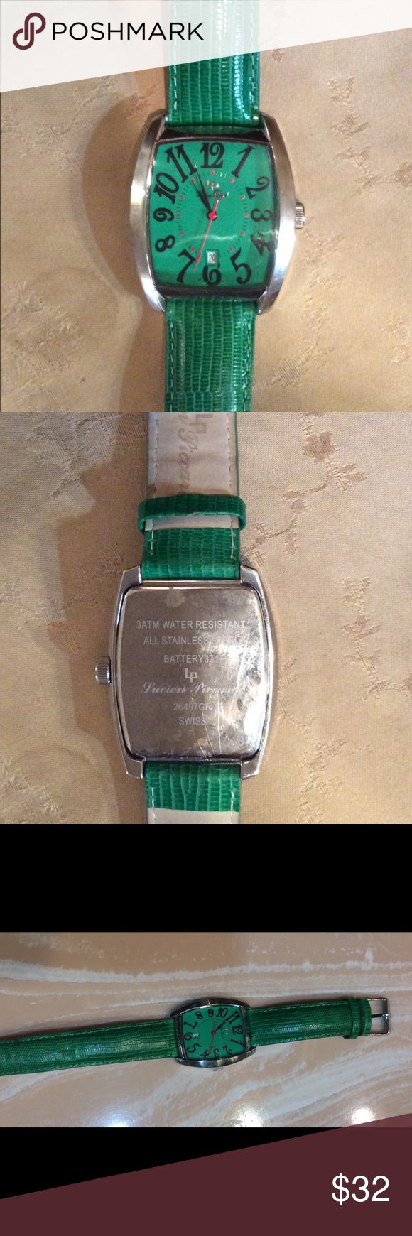 Lucien Piccard embossed green leather watch Leather embossed lizard in beautiful green. Large face with date & water resistant. Swiss & stainless steel bezel. Automatic & in great condition. Worn just a few times. Lucien Piccard Accessories Watches